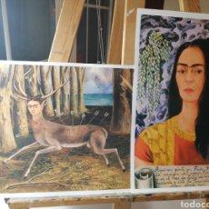 Arte: FRIDA KALHO, CIERVO. PAREJA LAMINAS TIPO LITOGRAFIA ARTE LATINO MEXICO. Lote 194534540