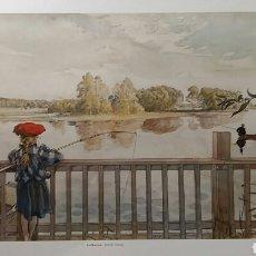 Arte: CARL LARSSON: LISBETH FISHING. LITOGRAFÍA ORIGINAL CON MATRÍCULA LEGAL DE EDICIÓN. Lote 194614445