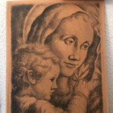 Arte: ANTONI VILA ARRUFAT. LA VIRGEN Y NIÑO JESÚS. LITOGRAFIA FIRMADA A LÁPIZ. . Lote 194615971