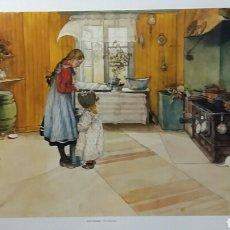 Arte: CARL LARSSON : THE KITCHEN. LITOGRAFÍA ORIGINAL CON MATRÍCULA LEGAL DE EDICIÓN. Lote 194616062