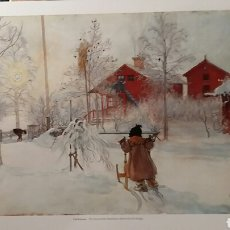 Arte: CARL LARSSON: THE YARD AND THE WASHHOUSE. LITOGRAFÍA ORIGINAL CON MATRÍCULA LEGAL DE EDICIÓN. Lote 194617497