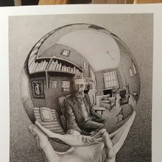 Arte: M. C. ESCHER : HAN WITH REFLECTING GLOBE, 1934. LITOGRAFÍA ORIGINAL CON MATRÍCULA LEGAL DE EDICIÓN.. Lote 194631751