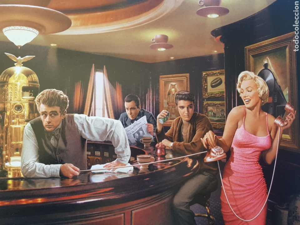 Arte: CHRIS CONSANI: ELVIS, BOGART, MARILYN, DEAN EN BARRA BAR. LITOGRAFIA ORIGINAL CON MATRICULA LEGAL - Foto 2 - 194871666