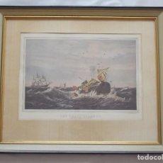 Arte: LITOGRAFIA GRABADO NAVAL MARINO THE WHALE FISHERT - NEW YORK. Lote 195016366