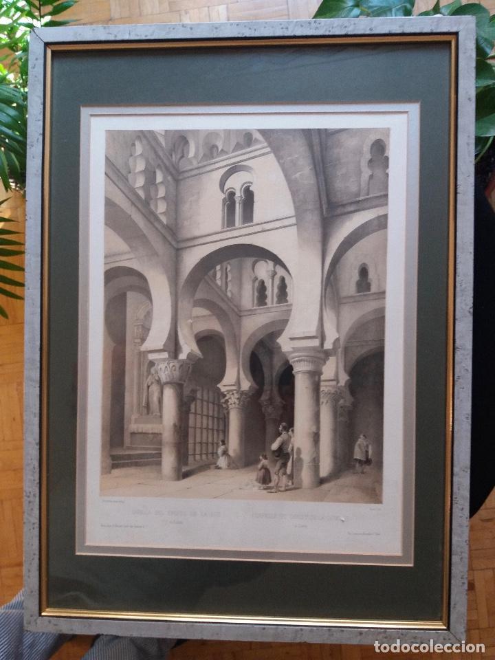 LITOGRAFÍA SIGLO XIX PEREZ VILLAAMIL,CAPILLA DEL CRISTO DE LA LUZ EN TOLEDO (Arte - Litografías)
