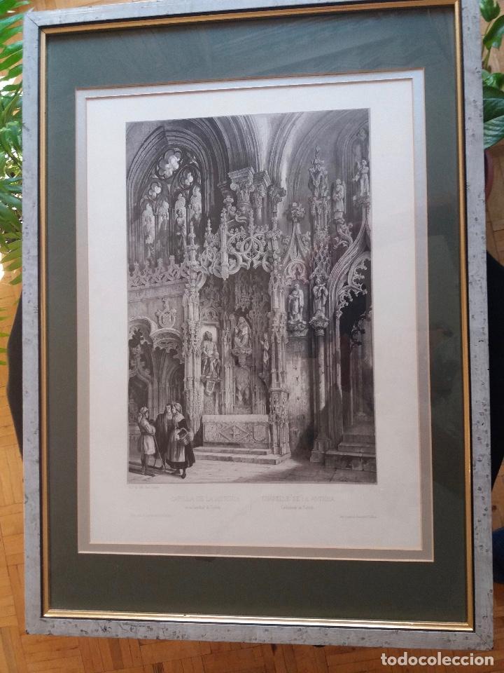LITOGRAFÍA SIGLO XIX PEREZ VILLAAMIL,CAPILLA DE LA ANTIGUA EN LA CATEDRAL DE TOLEDO (Arte - Litografías)