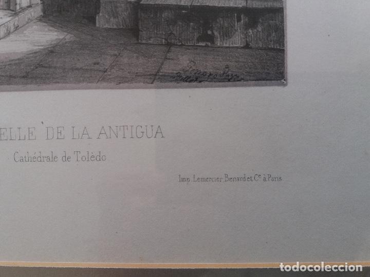 Arte: LITOGRAFÍA SIGLO XIX PEREZ VILLAAMIL,CAPILLA DE LA ANTIGUA EN LA CATEDRAL DE TOLEDO - Foto 4 - 195030077