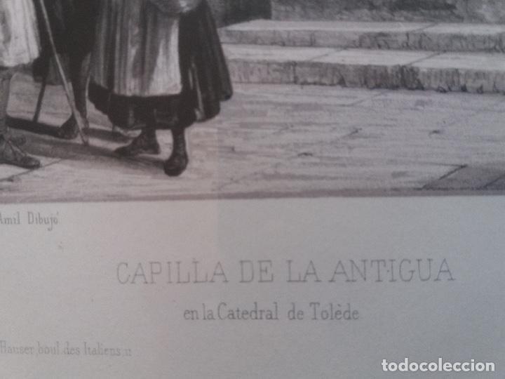 Arte: LITOGRAFÍA SIGLO XIX PEREZ VILLAAMIL,CAPILLA DE LA ANTIGUA EN LA CATEDRAL DE TOLEDO - Foto 5 - 195030077