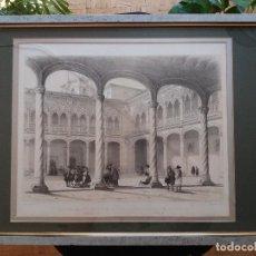 Arte: LITOGRAFÍA SIGLO XIX PEREZ VILLAAMIL,CLAUSTRO DEL COLEGIO DE SAN GREGORIO VALLADOLID. Lote 194984185