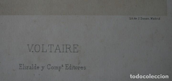 Arte: ANTIGUA LITOGRAFIA J. DONON MADRID: VOLTAIRE – ELIZALDE Y COMPAÑÍA EDITORES – FIRMADA LLANTA - Foto 3 - 195032951