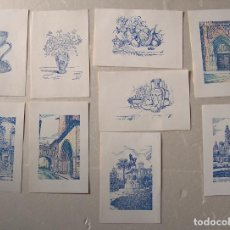 Arte: 9 LITOGRAFÍAS DE J MARTÍ,5 DE ZONAS EMBLEMÁTICAS VALENCIA, COLOREADAS. Lote 195180423