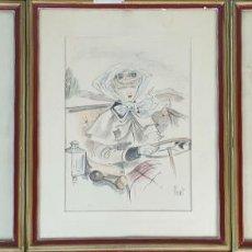 Arte: 3 LITOGRAFIAS SOBRE PAPEL. COLOREDAS A LA ACUARELA. FIRMADAS FLORIT. SIGLO XX. . Lote 195275986