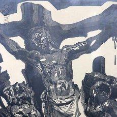 Arte: LITOGRAFÍA JESÚS EN LA CRUZ FIRMADA. Lote 195307193