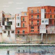 Arte: JOSEP Mª VAYREDA CANADELL (OLOT, 1932-2001) - CASAS Y RIO TER DE RIPOLL,OLOT.PRUEVA DE AUTOR.FIRMADA. Lote 196240033