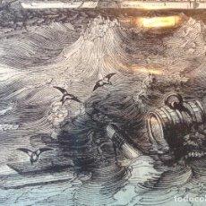 Arte: ORIGINAL XIX ANTIGUO GRABADO LITOGRAFÍA ASEDIO CÁDIZ DESDE EL MAR. Lote 196494358