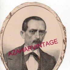 Arte: 1869, LITOGRAFIA DEL DIPUTADO A CORTES POR TERUEL, D. M.CASCAJARES,85X105MM. Lote 196799723