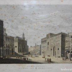 Arte: JEAN BAPTISTE RÉVILLE (1767-1825) AGUAFUERTE ILUMINADO DEL SIGLO XIX. PLAZA DEL MERCADO (VALENCIA). Lote 197086003
