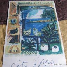 Arte: GRAN LITOGRAFIA DE PABLO PICASSO CÔTE D´AZUR 1962 HENRI DESCHAMPS. Lote 197172436