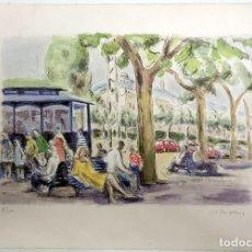 Arte: LITOGRAFIA SIMÓ BUSOM GRAU (1927) - VISTA URBANA BARCELONA - NUMERADA 8/150 - 57X38 CM / C-57. Lote 198425403