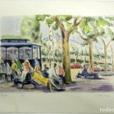 Arte: LITOGRAFIA SIMÓ BUSOM GRAU (1927) - VISTA URBANA BARCELONA - NUMERADA 10/150 - 57X38 CM / C-58. Lote 198425470