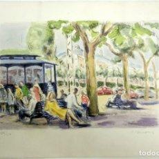 Arte: LITOGRAFIA SIMÓ BUSOM GRAU (1927) - VISTA URBANA BARCELONA - NUMERADA 136/150 - 57X38 CM / C-64. Lote 198426705