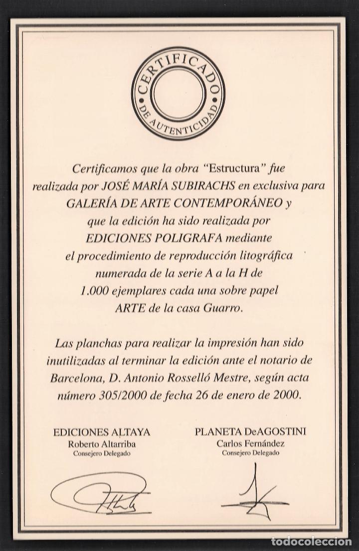 Arte: SUBIRACHS ESTRUCTURA REPROD. LITOGRÁFICA FIRMADA PLANCHA NUMERADA A LÁPIZ C966/1000 COA FASC CARPETA - Foto 4 - 198481088