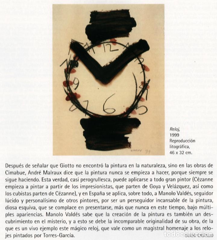 Arte: MANOLO VALDÉS RELOJ REPROD. LITOGRÁFICA FIRMADA PLANCHA NUMERADA A LÁPIZ F 623/1000 COA FASC CARPETA - Foto 51 - 198533768
