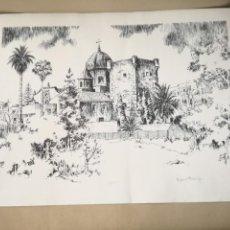Arte: GRAN LITOGRAFÍA DE ROSEND FRANCH CUBELLS: MONASTERIO DE LA SANTA FAZ, DE ALICANTE.. Lote 198841638