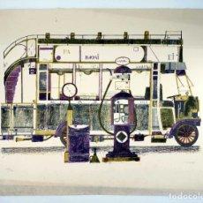 Arte: LITOGRAFÍA FRANCESC TODÓ. AUTOBUS / TROLEBUS. FIRMADA. NUMERADA 118/125. 78X57 CM, CIRCA 1970. Lote 200274427