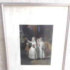 Arte: LE BENITIER LITOGRAFIA LANFANT DE METZ GRABADO GEOFFROY KNOEDLER NEW YORK 1857 GOUPIL ET CIE 73X53CM. Lote 200727195