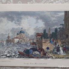 Arte: MAGNIFICO GRABADO ANTIGUO A COLOR DE VENEDIG, SANTA MARÍA DELLA SALUTE (VENECIA). Lote 200750847