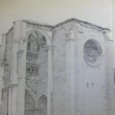 Arte: VILLALCAZAR DE SIRGA PALENCIA IGLESIA LITOGRAFIA 1922 CAMBERLAIN ARTISTA AMERICANO 23 X 30,5 CMTS. Lote 254496545