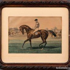 Arte: ALBERT ADAM (1873 - ?) - JOCKEY EN EL PADOCK - LITOGRAFÍA COLOREADA/PAPEL - 36X51CM. Lote 201214902