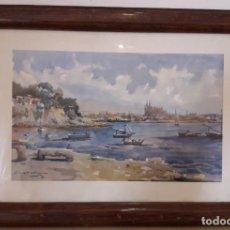 Arte: VISTA DE PALMA, ACUARELA DE JULIO QUESADA GUILABERT /1951 / EDICIÓN DE SEIX BARRAL (BARCELONA). Lote 201289742