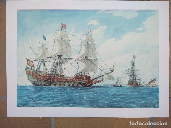 RAFAEL MONLEÓN TORRES. NAVÍO INGLÉS DE 1637. LITOGRAFÍA FIRMADA EN PLANCHA SIN NUMERAR. (Arte - Litografías)