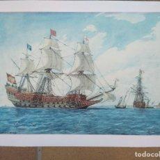 Arte: RAFAEL MONLEÓN TORRES. NAVÍO INGLÉS DE 1637. LITOGRAFÍA FIRMADA EN PLANCHA SIN NUMERAR.. Lote 201757736