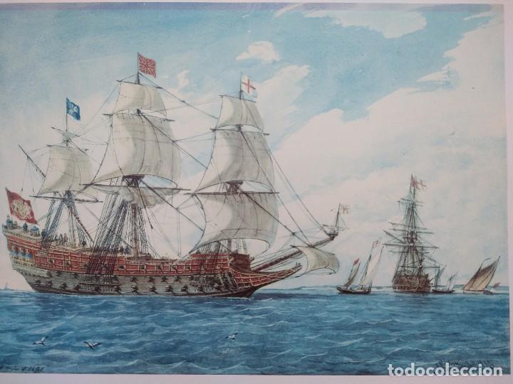 Arte: RAFAEL MONLEÓN TORRES. Navío inglés de 1637. Litografía firmada en plancha sin numerar. - Foto 2 - 201757736