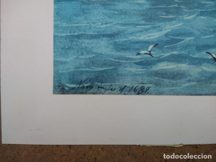 Arte: RAFAEL MONLEÓN TORRES. Navío inglés de 1637. Litografía firmada en plancha sin numerar. - Foto 3 - 201757736
