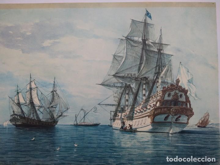 Arte: RAFAEL MONLEÓN TORRES. Navíos franceses del siglo 17 y 18. Litografía firmada en plancha sin numerar - Foto 2 - 201758036