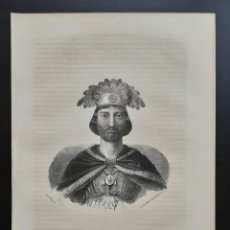 Arte: MOCTEZUMA - EMPERADOR AZTECA - MÉXICO - LITOGRAFÍA ORIGINAL DEL SIGLO XIX - CA. 1860. Lote 203838323