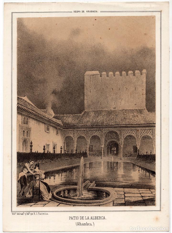 GRANADA. ALHAMBRA. ENTRADA PATIO DE LOS LEONES - LIT. F. J. PARCERISA.18X25. (Arte - Litografías)