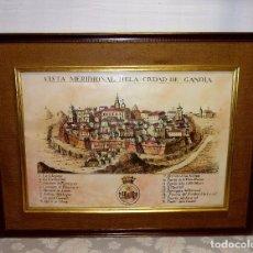 Arte: LITOGRAFIA VISTA MERIDIONAL DE LA CIUDAD DE GANDIA.75 X 51 CM Y 102 X 77 CM CON MARCO.. Lote 205335457