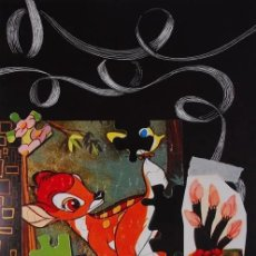 Arte: CARLOS PAZOS BAMBI LITOGRAFÍA ORIGINAL FIRMADA Y NUMERADA 55/99 A MANO ED LA POLÍGRAFA 1993 MUY RARA. Lote 206475791