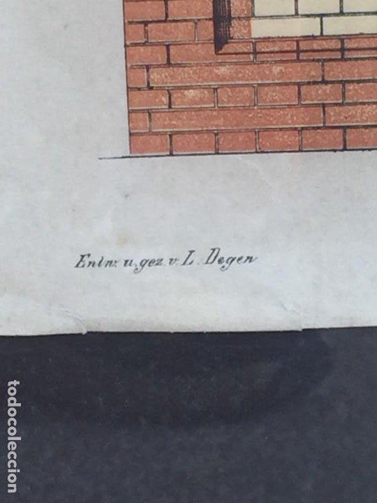 Arte: litografía enmarcada muro casa en munich munchen por l degen 61 X 51 X 2 CM - Foto 4 - 207223236