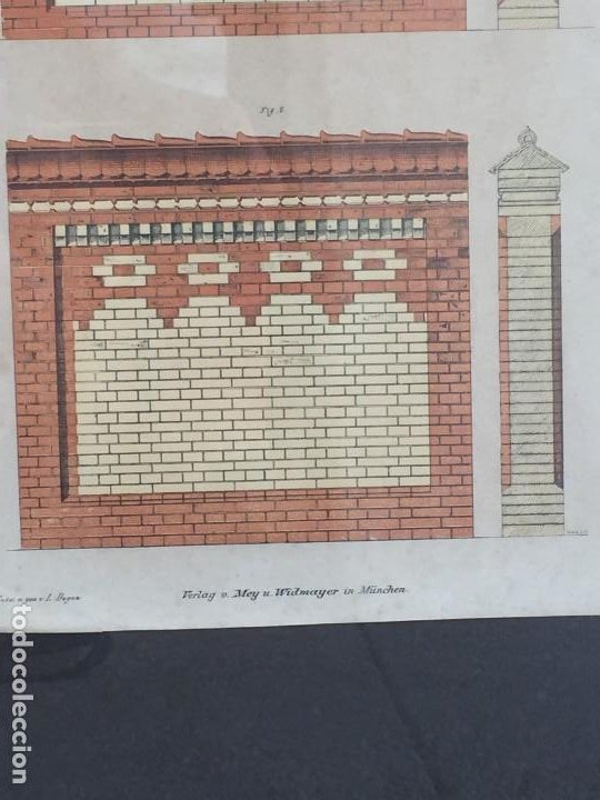 Arte: litografía enmarcada muro casa en munich munchen por l degen 61 X 51 X 2 CM - Foto 6 - 207223236