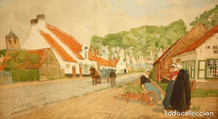 HENRI CASSIERS (BÉLGICA, 1858 - 1944) LITOGRAFIA ORIGINAL. 59 X 98 CM. (Arte - Litografías)