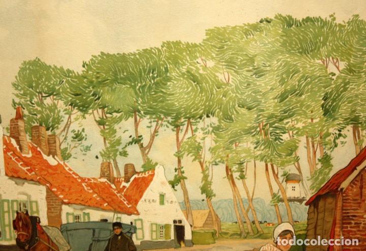 Arte: Henri CASSIERS (Bélgica, 1858 - 1944) LITOGRAFIA ORIGINAL. 59 X 98 CM. - Foto 8 - 209105238
