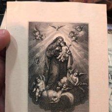 Arte: LITOGRAFIA MINIATURA DE ANTIGUO GRABADO DE SAN JOSE - MEDIDA 12,5X9 CM - RELIGIOSO. Lote 210831046