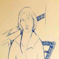 "Arte: ELMYR DE HORY (BUDAPEST 1906-IBIZA 1976) ""RETRATO EN AZUL"" EN EL ESTILO DE MODIGLIANI. Lote 211954862"