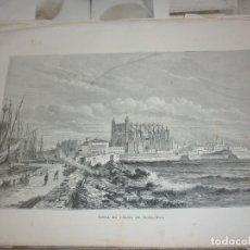 Art: VISTA DE PALMA DE MALLORCA. LITOGRAFIA DE 1881. GEOGRAFIA UNIVERSAL. MONTANER Y SIMON.. Lote 212203817
